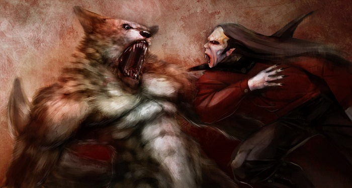 Vampire fighting werewolf